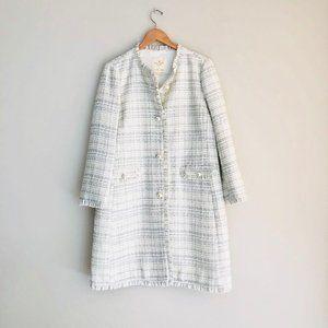 Kate Spade Sparkle Tweed Star Bright Coat White 10
